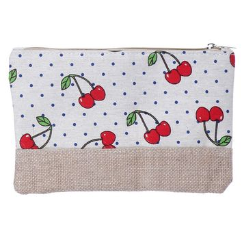 Cherry Canvas Burlap Zipper w/ Wristlet Cosmetic Bag