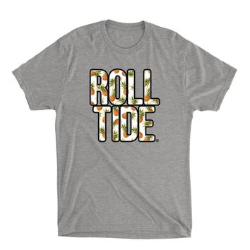 Official NCAA Alabama Roll Tide - Hawaiian Floral 18ALHAW02 Mens / Womens Premium Triblend T-Shirt