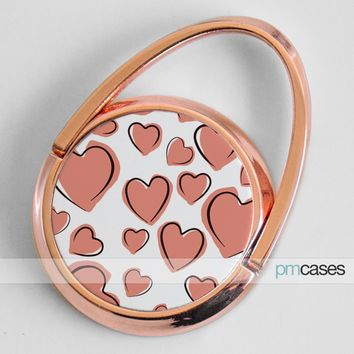 Rose Gold Hearts Phone Ring Finger Holder Mount Stand Grips