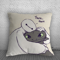 Toothless Baymax Hugs Pillow, Pillow Case, Pillow Cover, 16 x 16 Inch One Side, 16 x 16 Inch Two Side, 18 x 18 Inch One Side, 18 x 18 Inch Two Side, 20 x 20 Inch One Side, 20 x 20 Inch Two Side