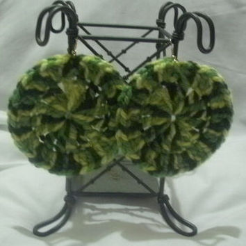 Oversized Crochet Earrings - Mixed Greens -  OOAK