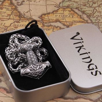 Dropshiping new arrival stainless steel Viking Goat Mjolnir rune thor hammer pendant necklace men gift