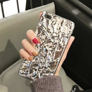 Phone Cases For iPhone 7 6 6s Plus Case Luxury 3D Bling Tinfoil Electroplating Hard Back Cover Funda 2017 New Arrival Shell Capa
