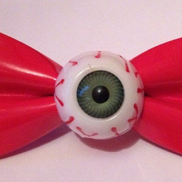 Vampire Red PVC Eyeball Hair Bow Hairbow Cyber Industrial Creepy Cute Kei Goth Gothic Lolita Emo Punk Spooky