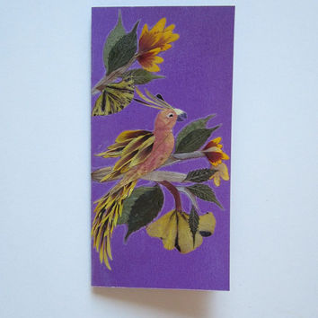 "Handmade unique greeting card ""In the world of color"" - Decorated with dried pressed flowers and herbs - Original art collage."