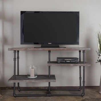 Michael Anthony Antique Grey Reclaimed Distressed 3-Shelf Media Console