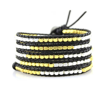 Gold and Silver Nuggets on Black Leather Wrap Bracelet