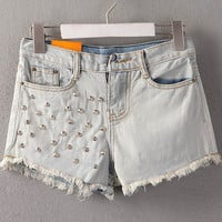 Tassel Rivet Ripped Loose High Waisted Short Jeans Punk Sexy