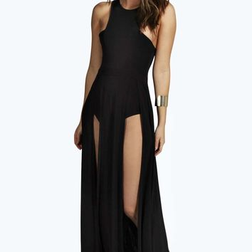 Karen Cutaway Thigh Split Slinky Maxi Dress