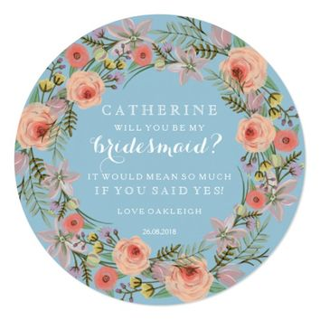 Pastel Wreath Will You Be My Bridesmaid | Blue Card