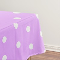 White and pink polka dot, retro geometric pattern tablecloth