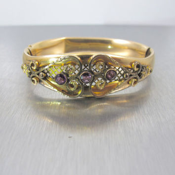 Victorian Bangle Bracelet, Gold Filled Bracelet, 1900s Antique Jewelry Amethyst Glass, MH Co. Jewelry