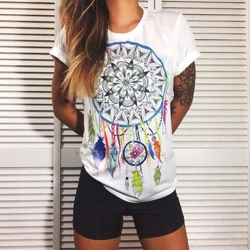 Fashion White Printed T-Shirt