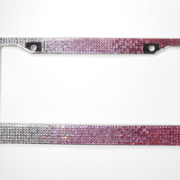 Bling License Plate Frame, 7 Row Pink Fade Glass Crystal Mega Bling Plate Frame w/Screw Cap Covers, Bling Car Accessory,Bling Car Decor