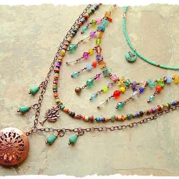 Boho Colorful Modern Hippie Necklace, Layered Gypsy Necklace, Bohemian Assemblage Jewelry, Boho Style Me, Kaye Kraus