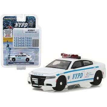 2017 Dodge Charger Pursuit Police New York Police Department (NYPD) with NYPD Squad Number Decal Sheet Hobby Exclusive 1/64 Diecast Model Car by Greenlight