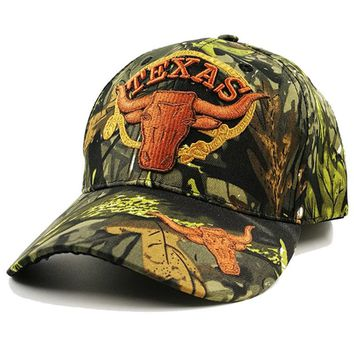 Texas Longhorn Baseball Cap men usa army Camo Military Cap Dad hat women