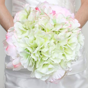 "Silk Hydrangea and Peony Bouquet in White and Green14"" Tall"