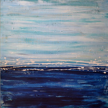 Large Abstract Ocean Painting - Original Contemporary Textured Canvas Acrylic Art - Blue, Grey, White - To the Sea: 30 x 30 - FREE SHIPPING