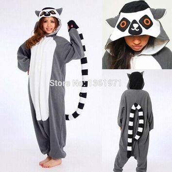 Kigurumis Cheap DHL Adult Cartoon Winter High Quality Animal Ring-Tailed Lemur Monkey Pajamas  Onesuit Costume For Party