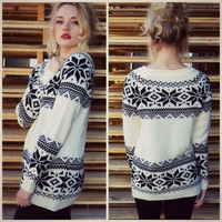Ice Crystal White Snowflake Sweater