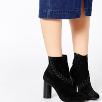 Senso Sara Black Suede Heeled Ankle Boots