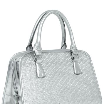 Silver Weave Teardrop Insulated Lunch Handbag