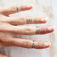 MOON GAZER ➳ 10PC SILVER MIDI RING STACK