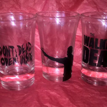 Custom The Walking Dead Zombie Set Of 3 Shot Glasses Vinyl