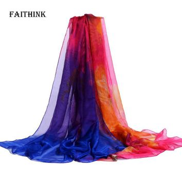 [FAITHINK] 2017 New Fashion Women Large Silk Scarf Shawl Femme Rainbow Color Block Poncho Bandana Brief Winter Long Wrap Scarves