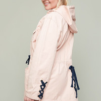 Plus Size Lace Up Detail Pink Cargo Jacket