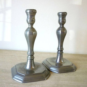 Vintage French Pewter Candle Holders