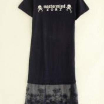 Chic Style Round Collar Lace Splicing Skull and Letter Print Dress For Women