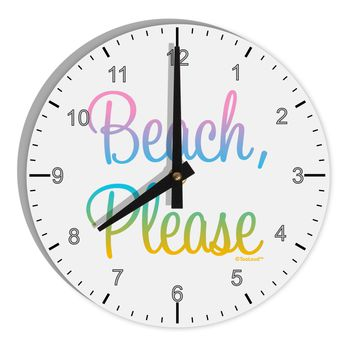 "Beach Please - Summer Colors 8"" Round Wall Clock with Numbers"