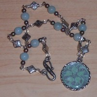 Green and Blue Flourish Penant with Amazonite Necklace