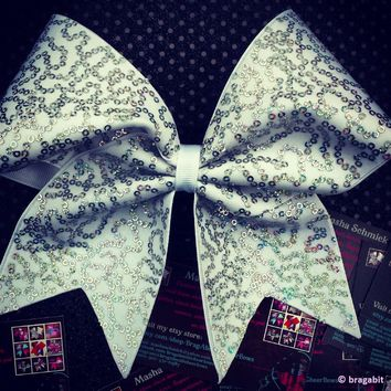 White and silver hologram sequins cheer bow