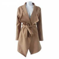 Khaki Self-Tie Turndown Collar Long Coat