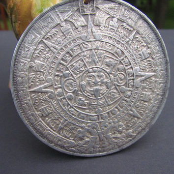 LARGE Silver~MAYAN ZODIAC~ Pendant Vintage~ Astrological Double Sided Medallion~ Sun Dial~Mexican Silver~Vintage Collectors Piece~