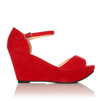 LACIE Red Faux Suede Wedge High Heel Platform Peep Toes