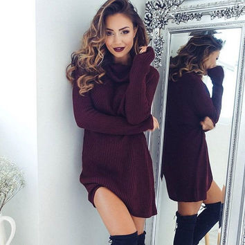 Fashion Solid Color High Collar Knitwear Sweaters Dress
