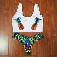 2017 New Style Tank Bikini Set Pineapple Swimsuit Low Waist Two Pieces Bathing Suit Bikini Brazilian Swimwear