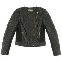 Michael Kors Womens Lamb Leather Quilted Motorcycle Jacket
