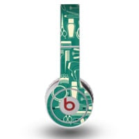 The Teal and Yellow Beauty Product Icons Skin for the Original Beats by Dre Wireless Headphones