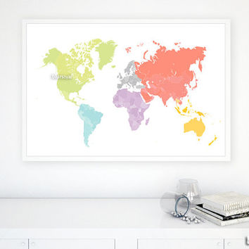 "36x24"" Printable world map, diy travel pinboard map, bright colors world map, colorful wall art, nursery map, colorful nursery - map026 I02"