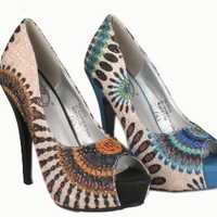 ITALINA SH1143 Women¡¯s peep toe platform pump on stiletto heels with peacock pattern printed fabric upper