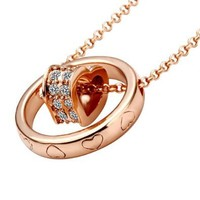 18K Gold Plated Swarovski Elements Crystal Heart with Heart Print Ring Necklace Pendant