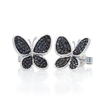 18 Karat White Gold Black Diamond Pave Butterfly Stud Earrings