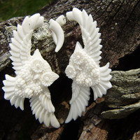 Fake gauge, Owl  White Bone ,Fake Gauge Earrings Fancy Craved Feather Cheater,tribal style