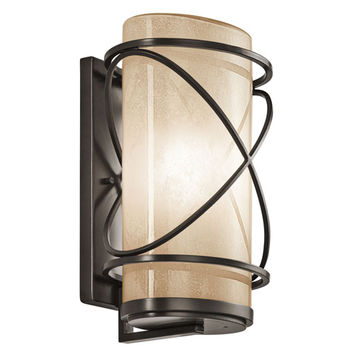 Kichler 49358AZ Trafari Architectural Bronze One Light Extra Large Outdoor Wall Lantern with Vetro Mica Glass