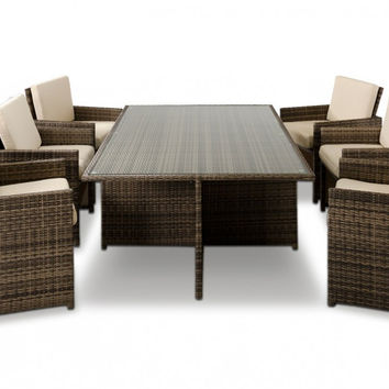 Renava Barcelona - Rectangular Compact Table, 6 Fold-out Chairs, and 6 Individual Ottoman Patio Set VGUBBARCELONA-RECT